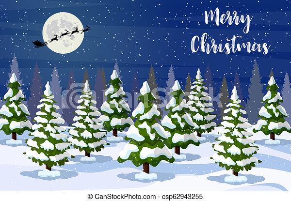 Paisaje navideño por la noche - csp62943255