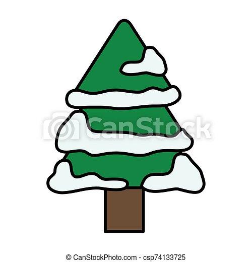 navidad, pino, alegre, nieve, árbol - csp74133725