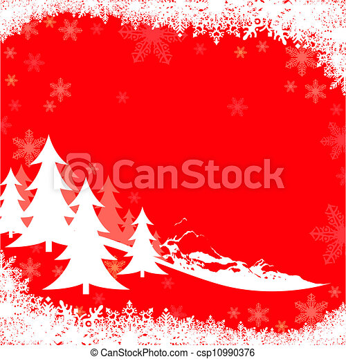 Saludos de Navidad rojo - csp10990376
