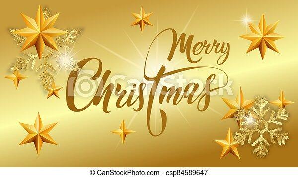 navidad., snowflakes., brillante, tarjeta oro, saludo, alegre, plano de fondo, letras - csp84589647