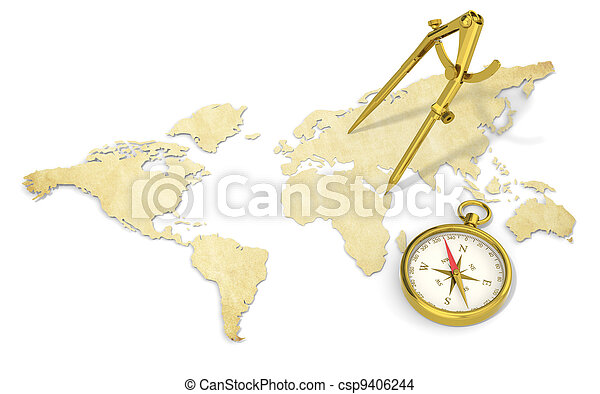 Navigate a world map in 3d paper shape thin and antique style navigate stock photo gumiabroncs Choice Image