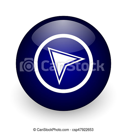Navigation blue glossy ball web icon on white background. Round 3d render button. - csp47922653