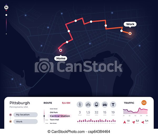 Navigation map. Gps city navigator ui with mapping route, tracking on map a run, map a cut, map a drive, map a path, map a course, map a process, map a distance,