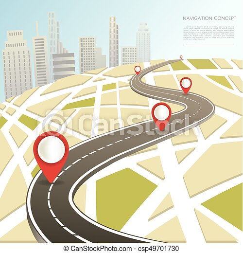 Navigation map with location pinc vector car road route