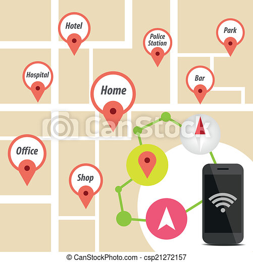 Navigator Smart phone with icon on map - csp21272157