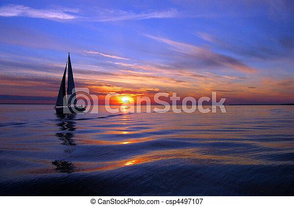 navigazione, mare, colorare - csp4497107