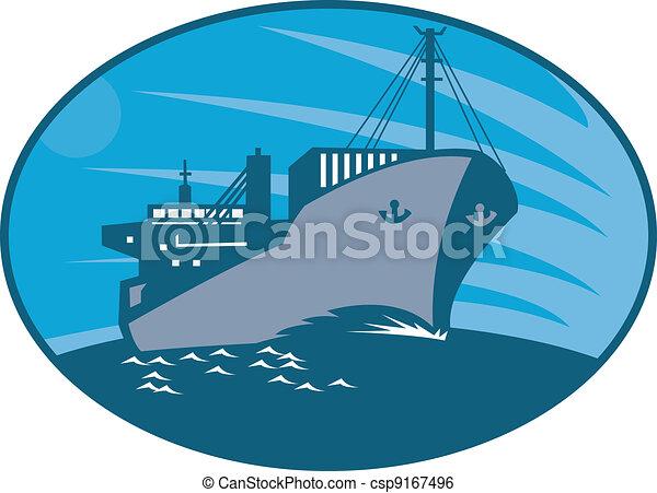 navio carga, recipiente, retro, cargueiro - csp9167496