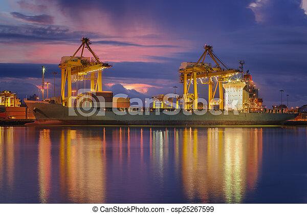 navire porte-conteneurs, fret, cargaison - csp25267599