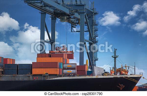 navire porte-conteneurs, fret, cargaison - csp28301790