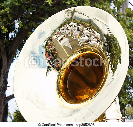 Navy Band reflected in tuba - csp3952626