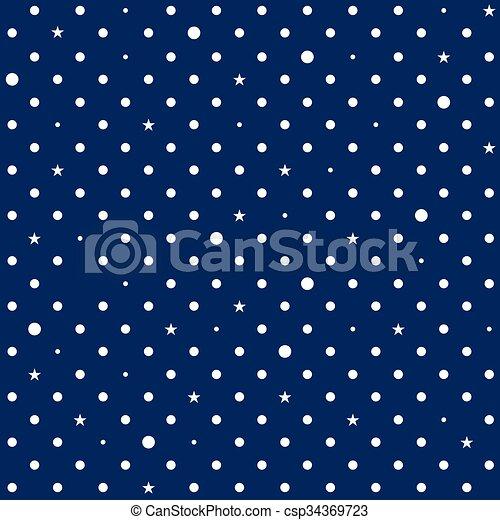 Navy Blue White Star Polka Dots Background