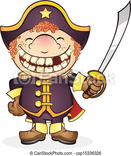 Navy Boat Captain Cartoon Character - csp15336326