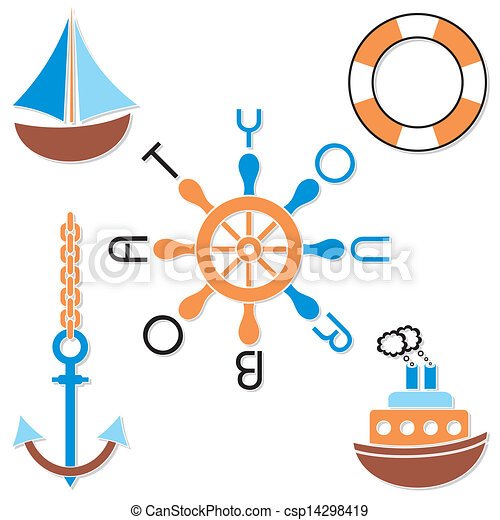 Navy Symbols Set Of Five Colorful Navy Symbols With Text Your Boat
