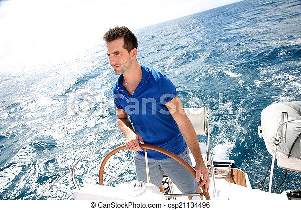 nawigacja, karaibski, młody, morze, człowiek - csp21134496