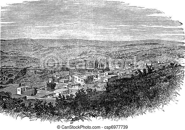 Nazareth in North District, Israel, vintage engraved illustration - csp6977739