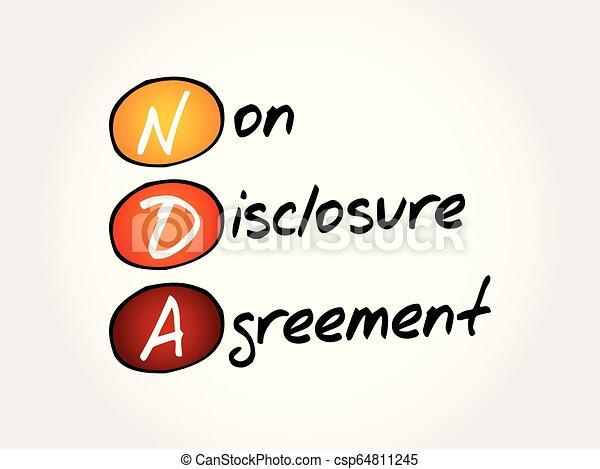 nda, acroniem, niet-onthulling, -, overeenkomst - csp64811245