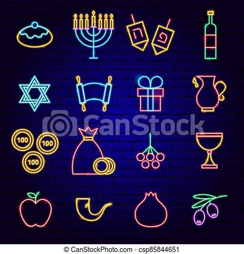 neón, hanukkah, feliz, iconos - csp85844651