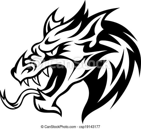 Nebezpeci Drak Hlavicka Nebezpeci Ilustrace Drak Vektor Tattoo