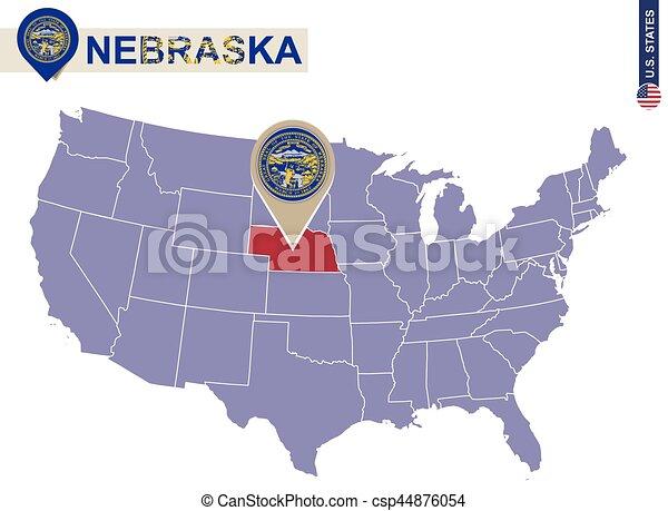 Nebraska State On USA Map. Nebraska Flag And Map.   Csp44876054