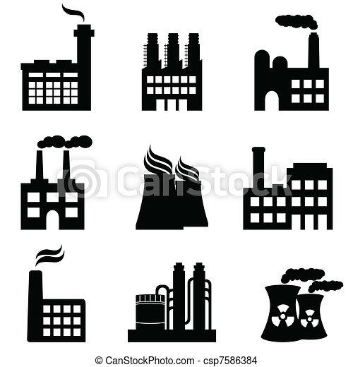 nechat na holičkách, továrna, průmyslový, mocnina, stavení - csp7586384