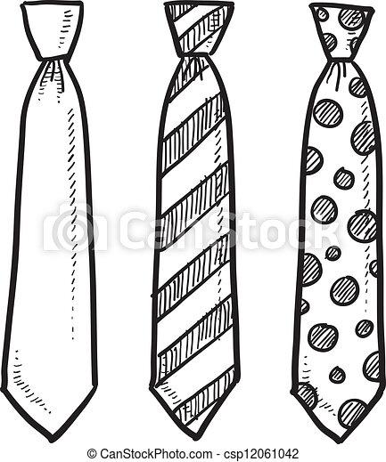 Neck tie sketch - csp12061042