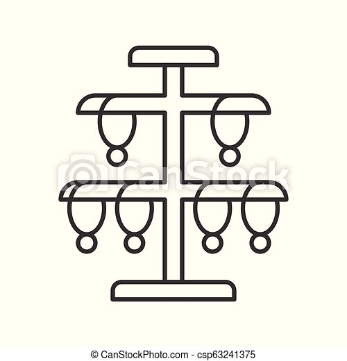 necklace stand, jewelry related, outline vector icon - csp63241375