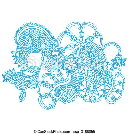 Neckline embroidery design - csp13188055