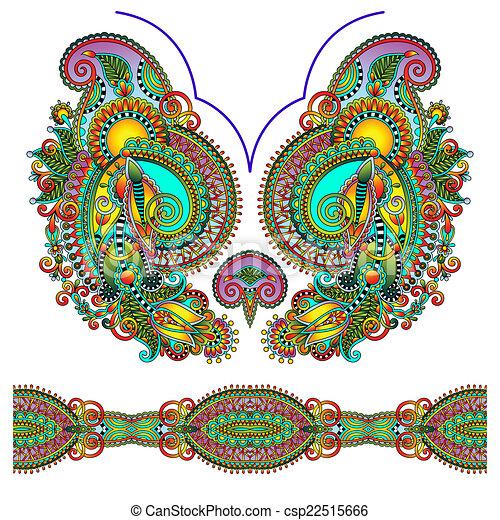 neckline ornate floral paisley embroidery fashion design clip rh canstockphoto com paisley clip art images paisley clip art images