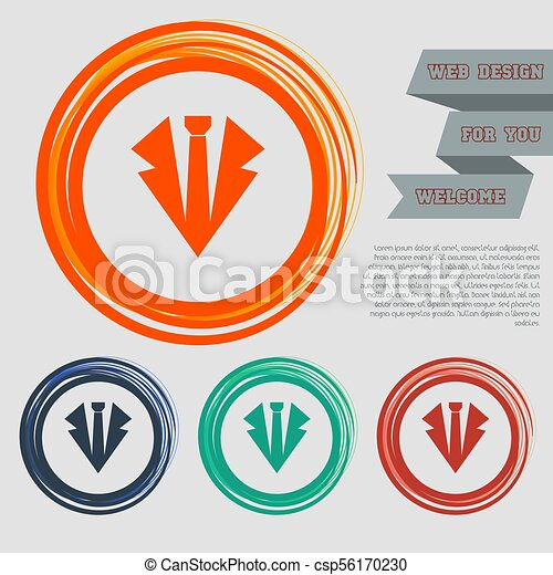 Necktie icon on the red, blue, green, orange buttons for your website and design with space text. Vector - csp56170230