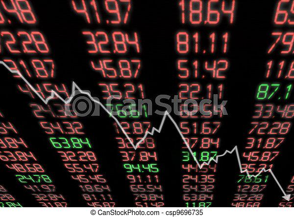 nedåt, marknaden, block - csp9696735