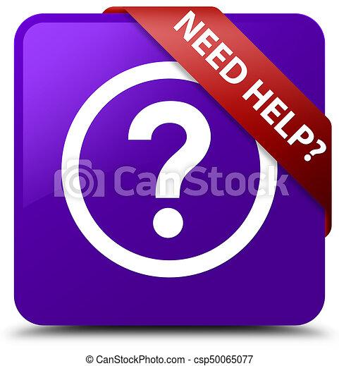 Need help (question icon) purple square button red ribbon in corner - csp50065077