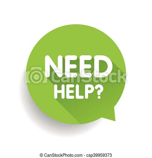 Need help? (question icon) Speech bubble vector green - csp39959373