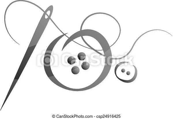 Needle and thread vector - csp24916425