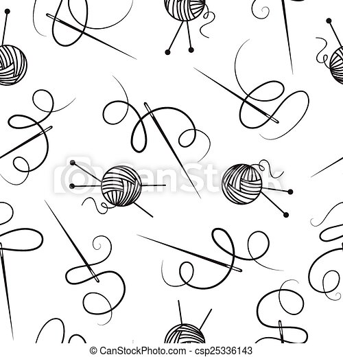 Needle thread ball of wool seamless background. - csp25336143