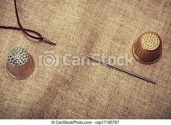 needle, thread, thimble - csp17190767
