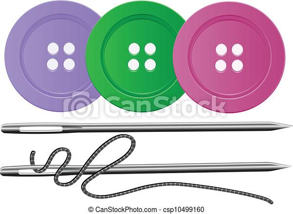 Needle & Thread,Buttons,Vector - csp10499160
