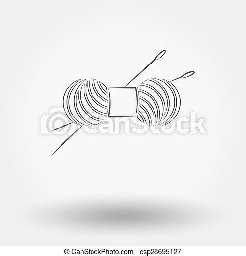 Una pizca de hilo para tejer y agujas. - csp28695127