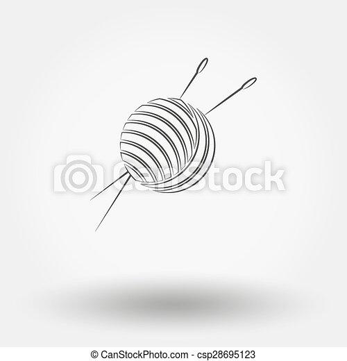 Bola de hilo y agujas. - csp28695123
