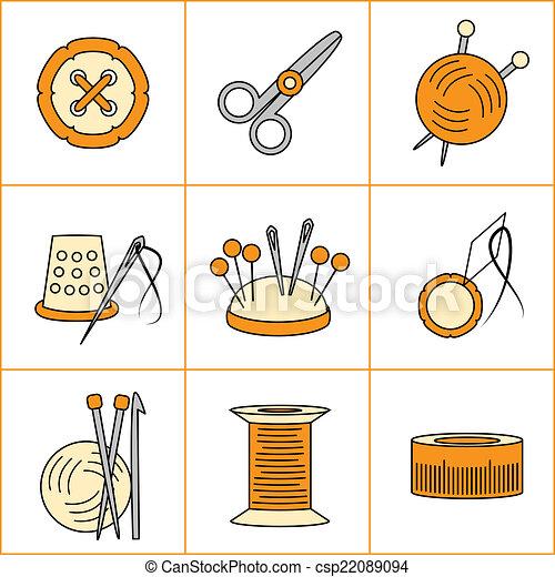 Needlework, knitting, sewing icons - csp22089094