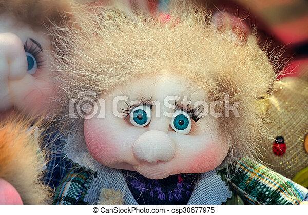 Needlework, original toys in the form of amusing dolls - csp30677975