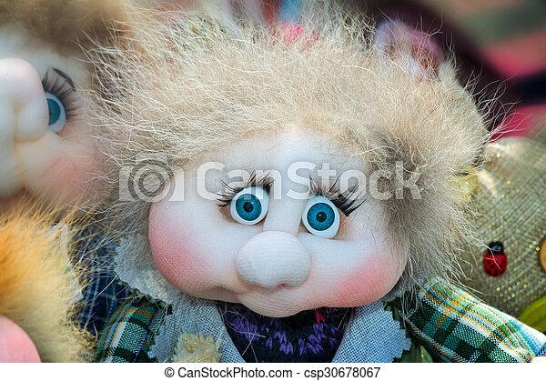 Needlework, original toys in the form of amusing dolls - csp30678067