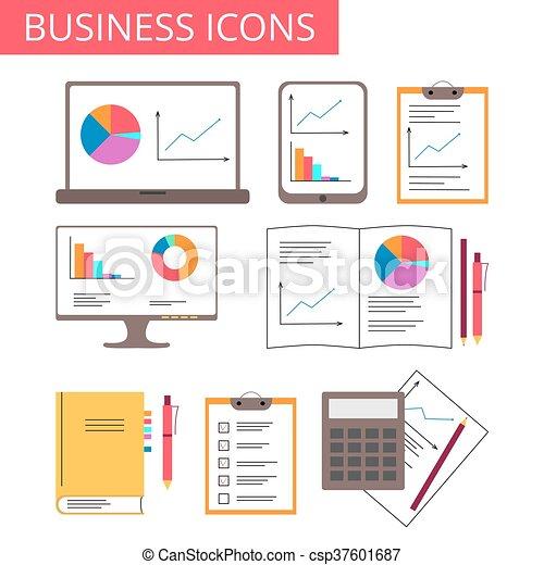 negócio, analytics, ícones escritório - csp37601687