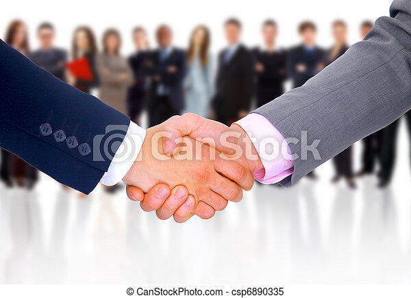 negócio, aperto mão, isolado, fundo - csp6890335
