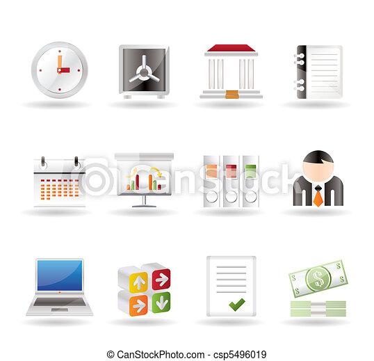 negócio, finanças, ícones escritório - csp5496019