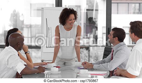 negócio mulher, apresentação, femininas, dar - csp1793867