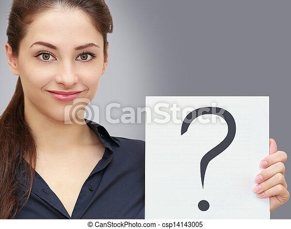 negócio mulher, pergunta, pedido, cinzento, sinal, segurando, em branco - csp14143005