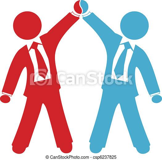 negócio, pessoas negócio, acordo, sucesso, comemorar - csp6237825