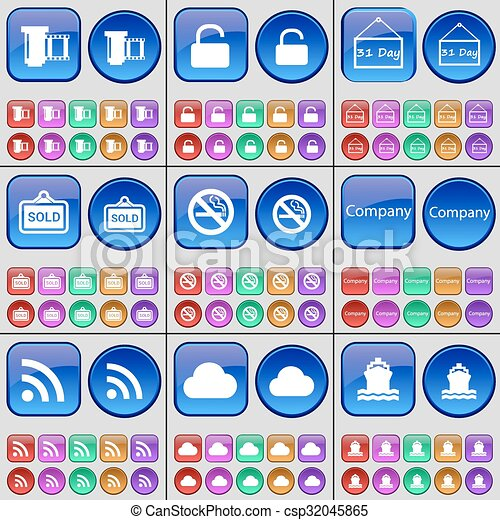 Negative films, Lock, Plate, Sold, No smoking, Company, RSS, Cloud, Ship. A large set of multi-colored buttons. Vector - csp32045865