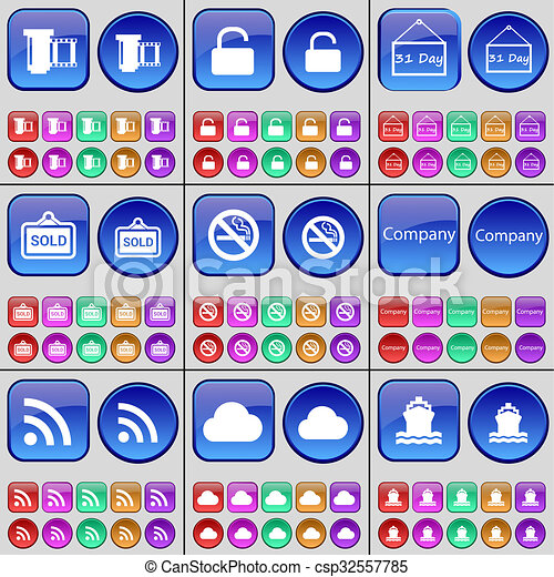 Negative films, Lock, Plate, Sold, No smoking, Company, RSS, Cloud, Ship. A large set of multi-colored buttons.  - csp32557785