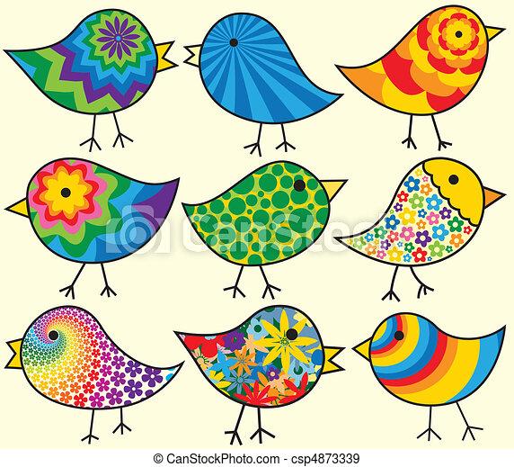 negen, vogels, kleurrijke - csp4873339